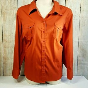 Lane Bryant Button Front Shirt Spandex Fitted